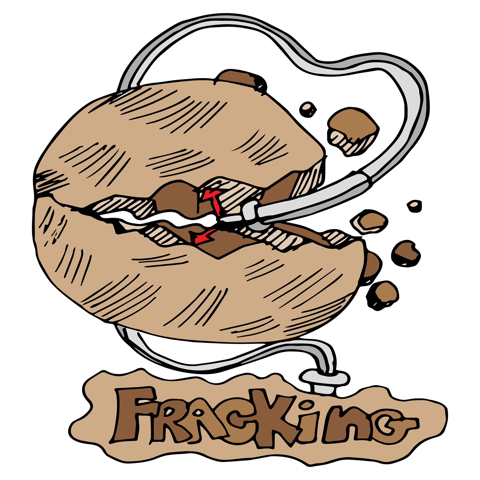 cartoon of fracking drill