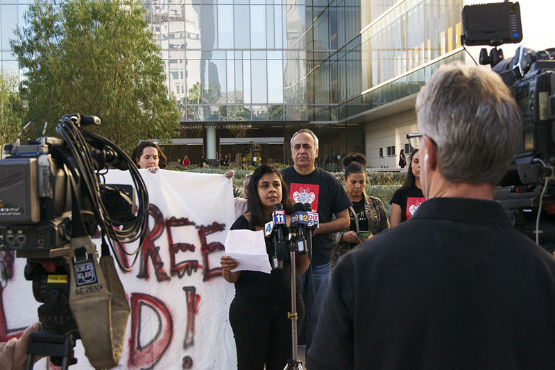 Activists with Stop LAPD Spying Coalition