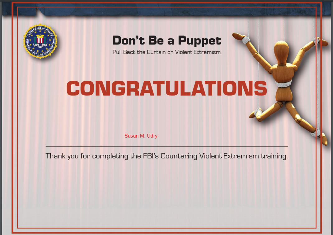 """""""Congratulations"""" to me for completing the FBI's CVE training"""
