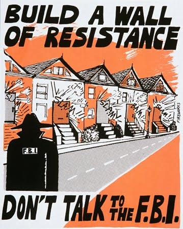 """vintage poster Build a wall of resistance, don't talk to the FBI"""""""