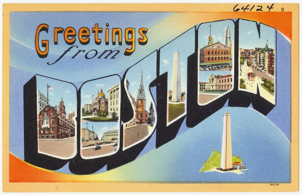 """old tyme postcard says """"greetings from Boston"""""""