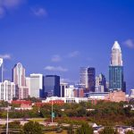 charlotte (queen city) skyline on a bright sunny day