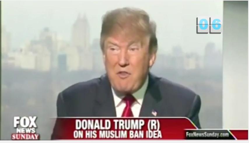screenshot of Trump on Fox News defending his Muslim Ban