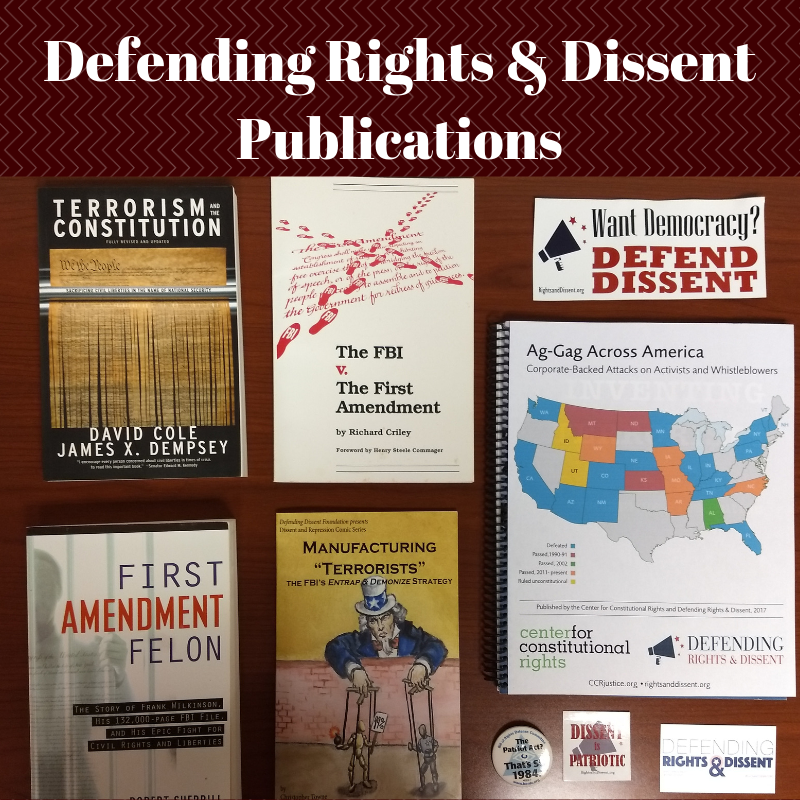 """books published by DRAD including """"Terorism and the Constitution"""" and """"First Amendment Felon"""""""