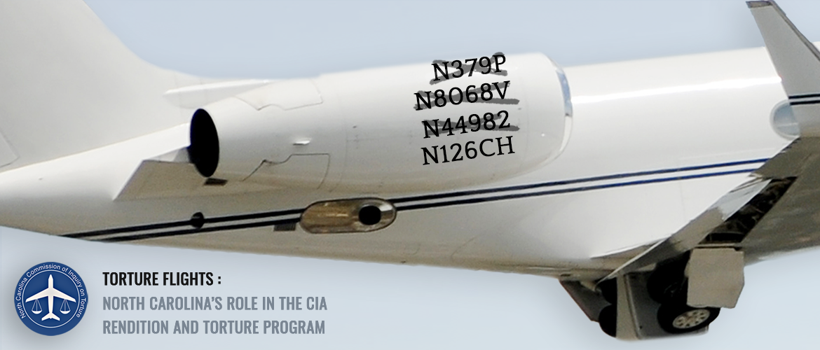 cover of the report shows an airplane used in the rendition/torture program