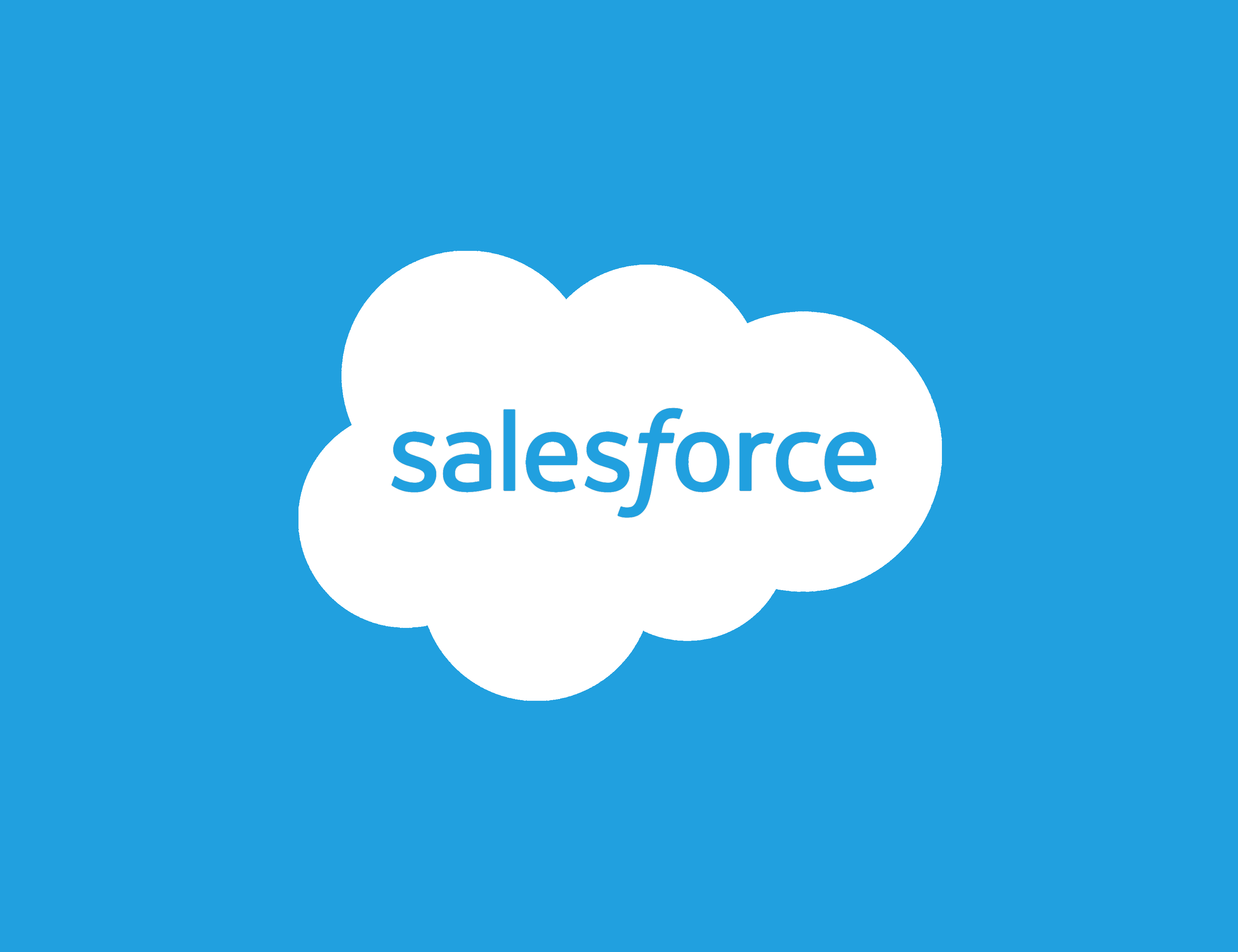 salesforce logo, a cloud on background of blue